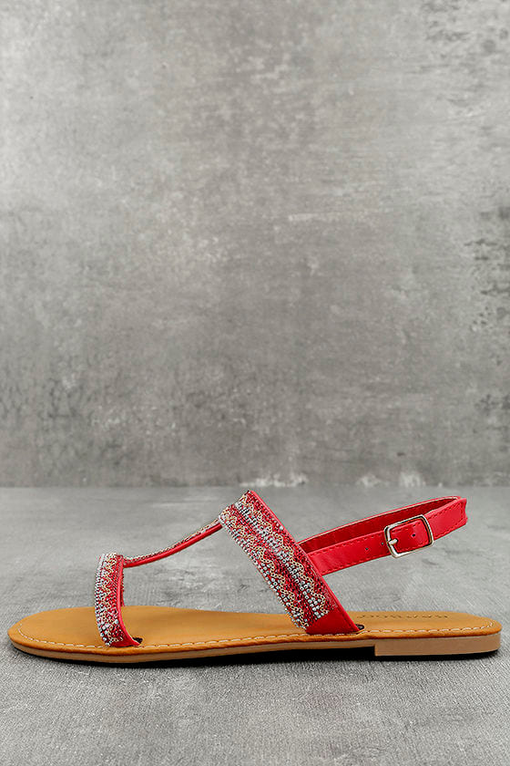 Brielle Red Rhinestone Sandals 1