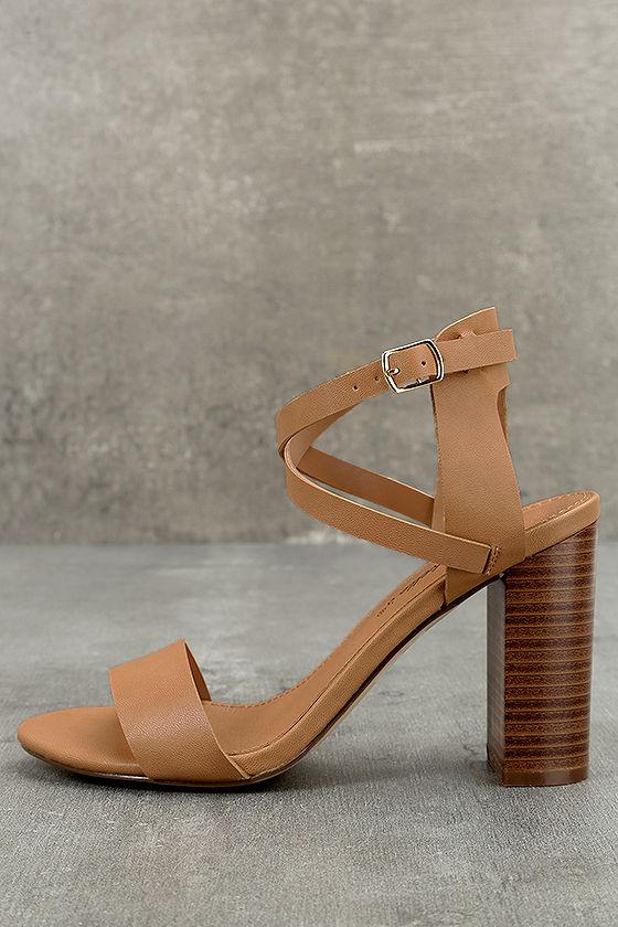 c6ff9fbb82e4d9 Cute Ankle Strap Heels - Natural Ankle Strap Heels - Vegan Leather Heels -   26.00