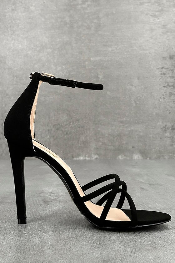 Michella Black Ankle Strap Heels 3