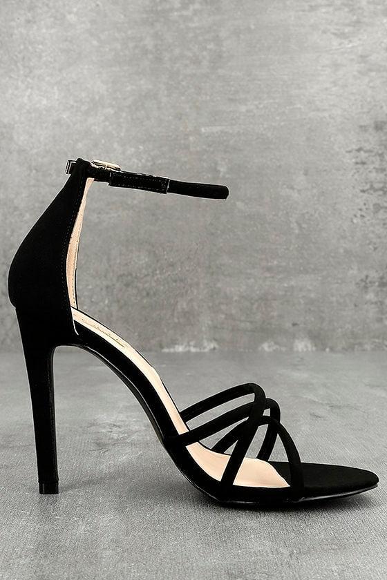 Michella Black Ankle Strap Heels 3
