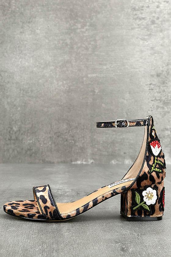 6e979d4e9d5 Steve Madden Inca Leopard Multi Heels - Leopard Print Sandals - Embroidered  Heels - Ankle Strap Heels -  99.00