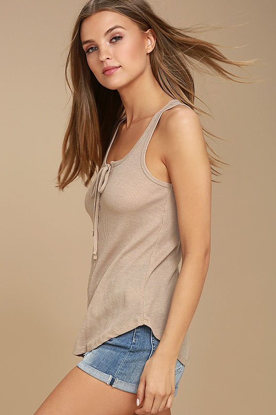 White Crow Play With Fire Beige Lace-Up Tank Top 2