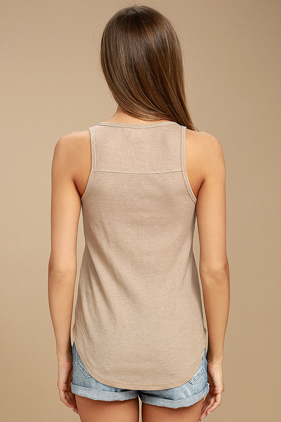 White Crow Play With Fire Beige Lace-Up Tank Top 3