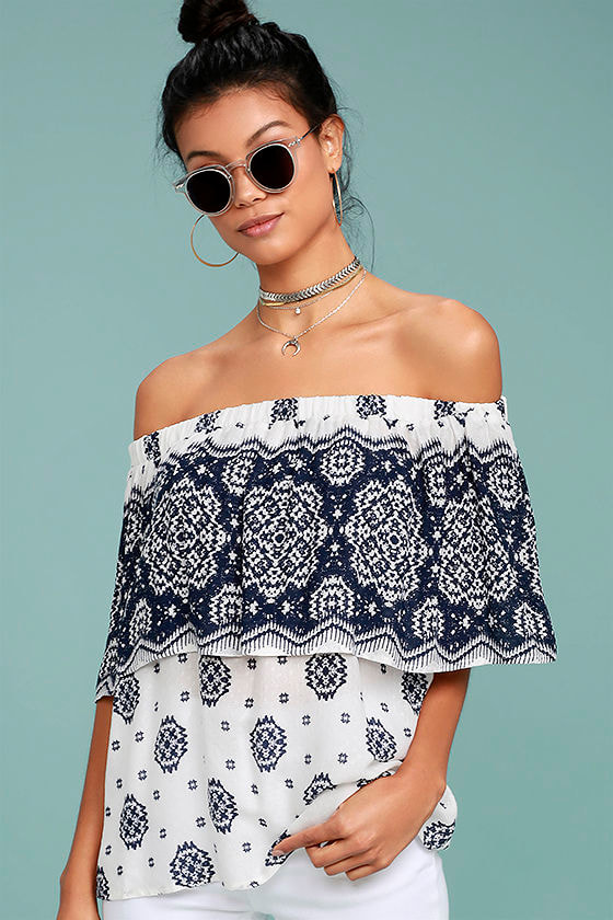 Tripoli Blue and White Print Off-the-Shoulder Top 1