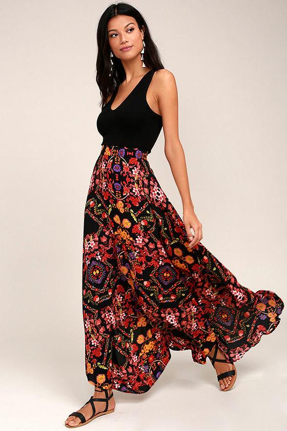 Lovely Black Skirt Floral Print Skirt Maxi Skirt 48 00