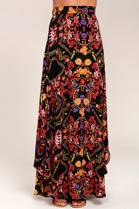 Immensely Talented Black Floral Print Maxi Skirt 2