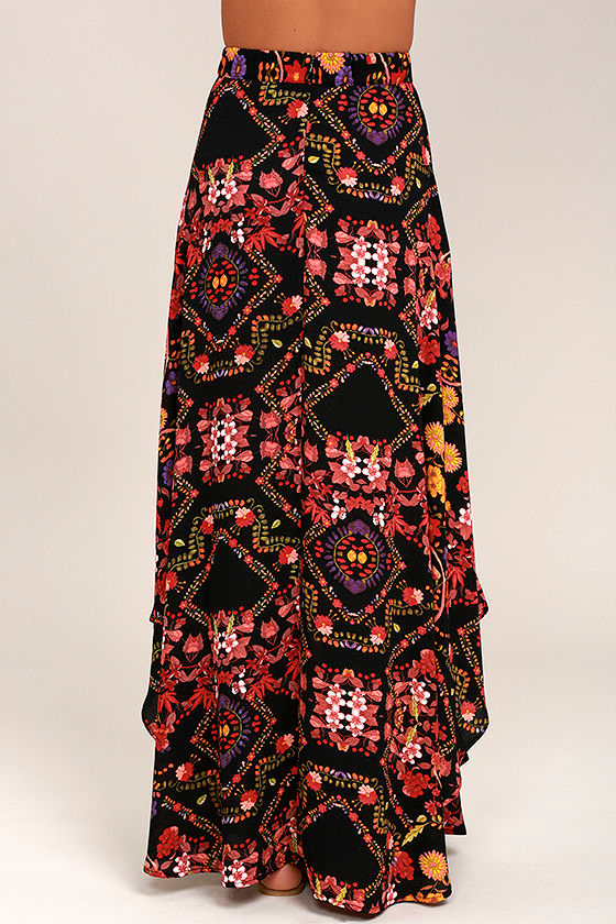 Immensely Talented Black Floral Print Maxi Skirt 3