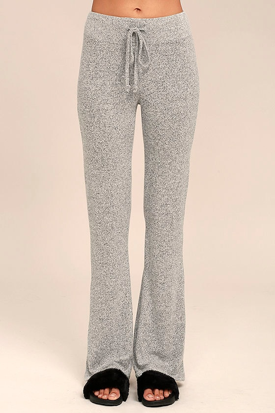 More Life Heather Grey Flare Pants 2