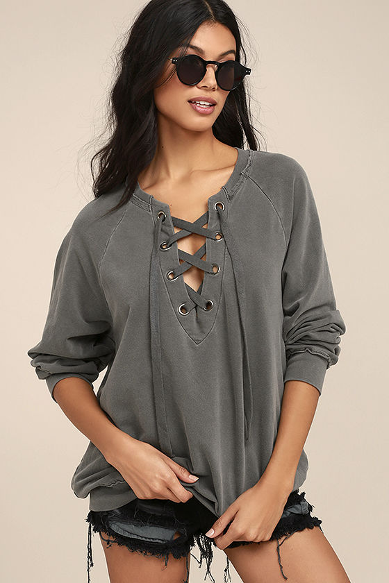 Project Social T Slave to Love Charcoal Grey Lace-Up Sweater 1