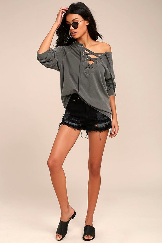 Project Social T Slave to Love Charcoal Grey Lace-Up Sweater 2