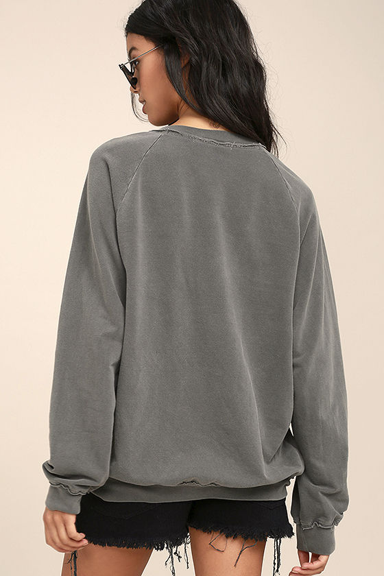 Project Social T Slave to Love Charcoal Grey Lace-Up Sweater 4