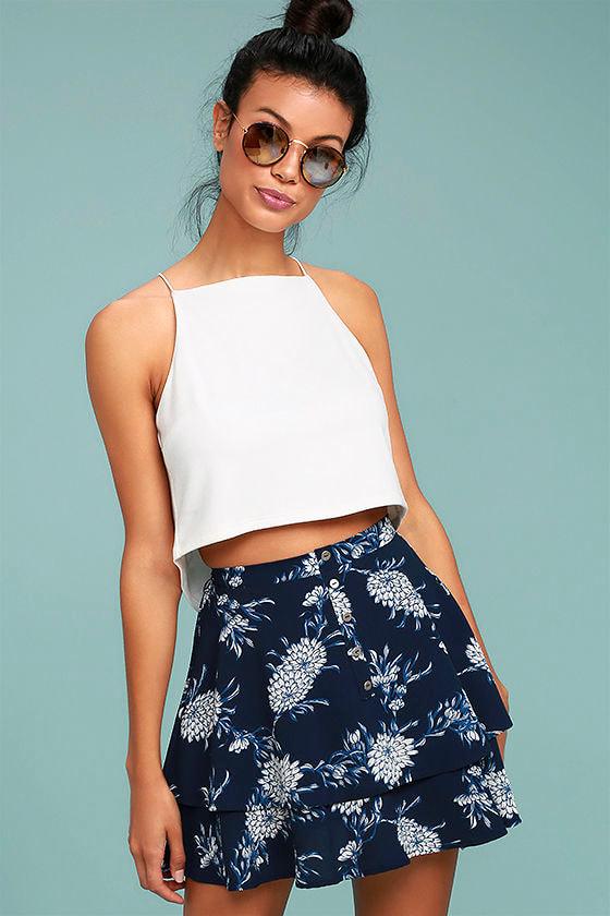 ac9e0e4b6b Cute Navy Blue Skirt - Floral Print Skirt - Mini Skirt - Skater ...