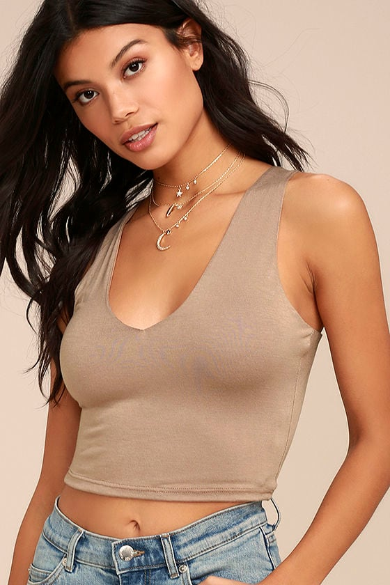 Feel Like Dancing Taupe Crop Top 1