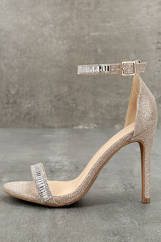 4b8abe032fc72 Stunning Rose Gold Heels - Rhinestone Ankle Strap Heels - Vegan Heels -   37.00
