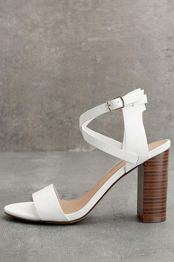 Madelaine White Ankle Strap Heels 1