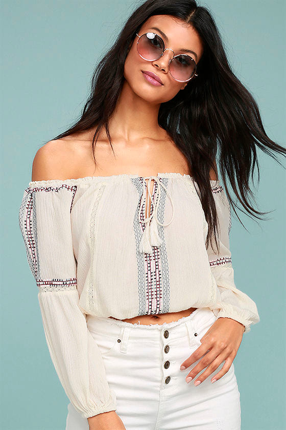 Jude Cream Embroidered Off-the-Shoulder Crop Top 1