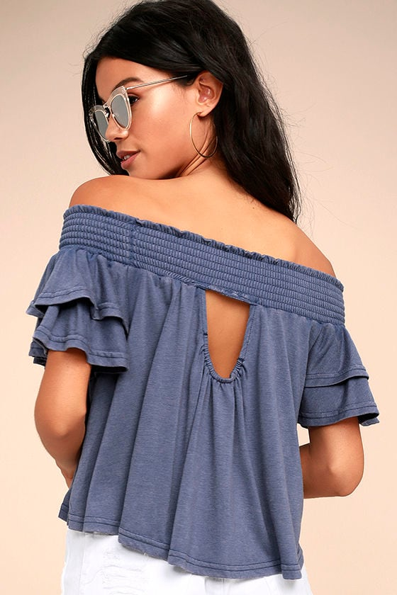 Always Stylish Washed Blue Off-the-Shoulder Crop Top 1