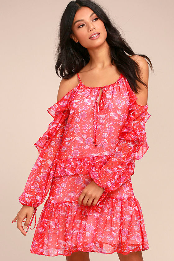 Adelyn Rae Kaileen Red Floral Print Long Sleeve Dress