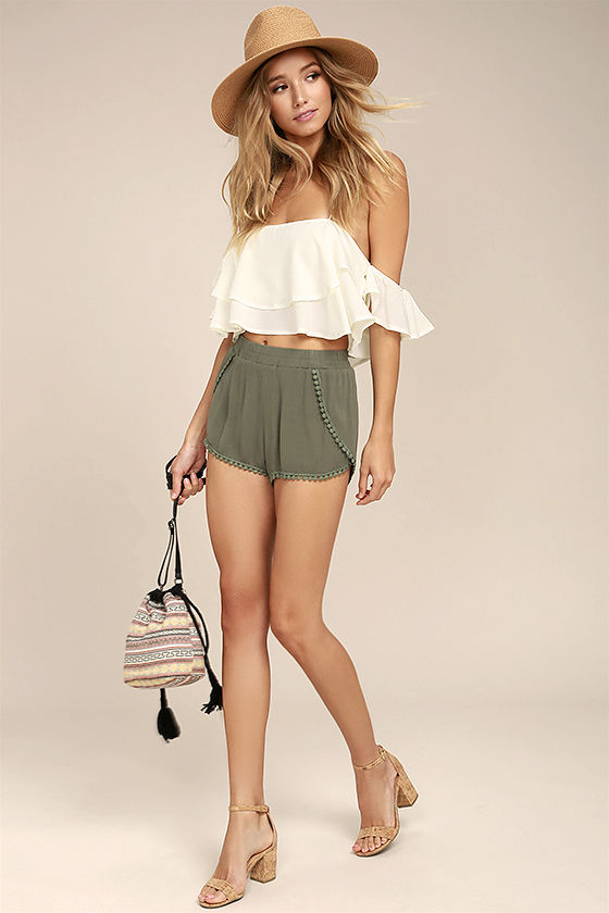 Breeze By Olive Green Embroidered Shorts 3