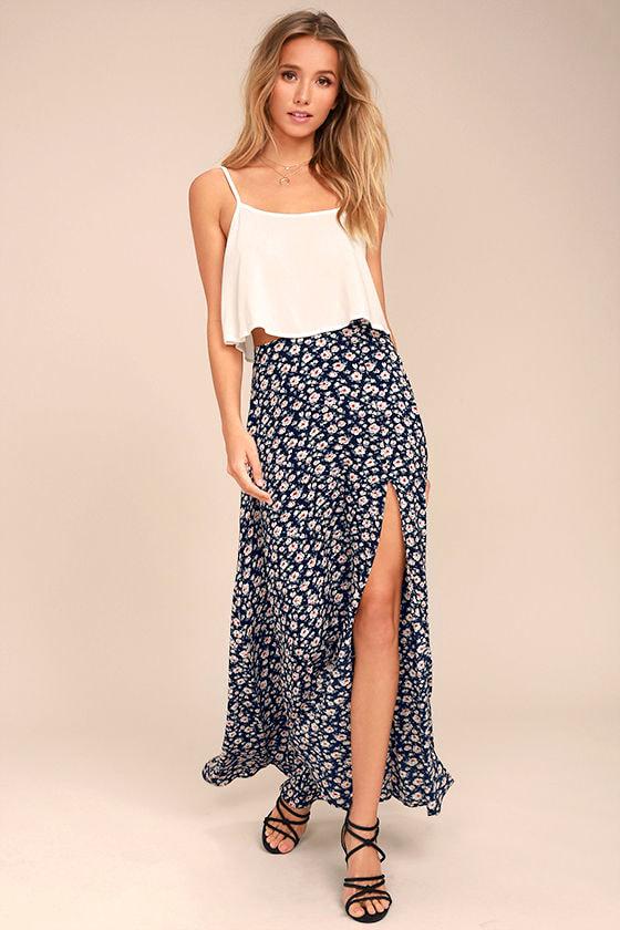 Lovely Navy Blue Skirt - Floral Print Maxi Skirt - Side Slit Maxi ...