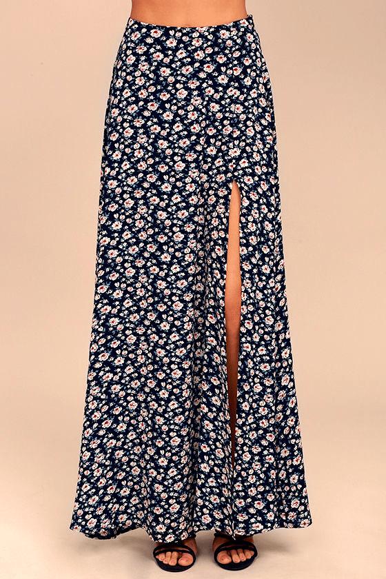 cdd3b5121e Lovely Navy Blue Skirt - Floral Print Maxi Skirt - Side Slit Maxi ...