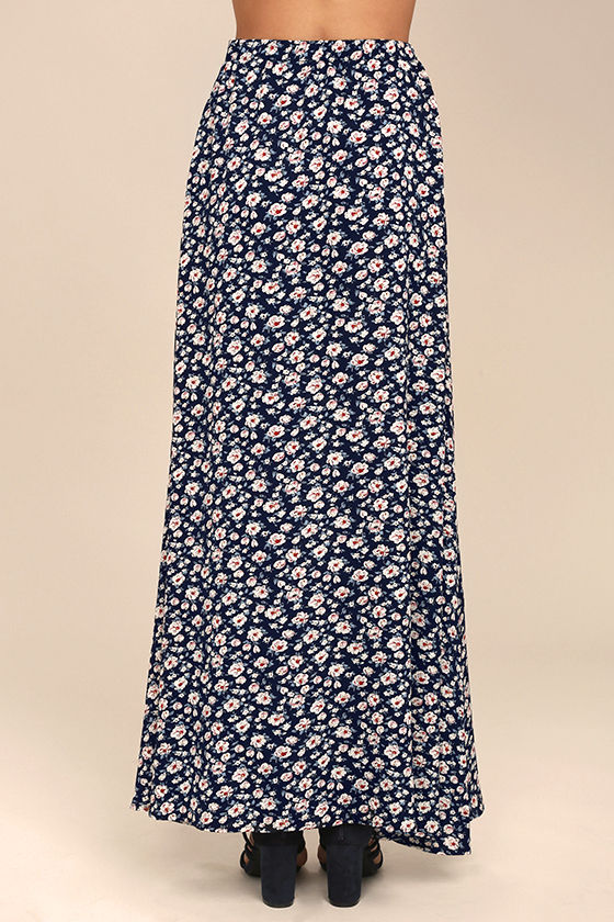 Dearest Friend Navy Blue Floral Print Maxi Skirt 3