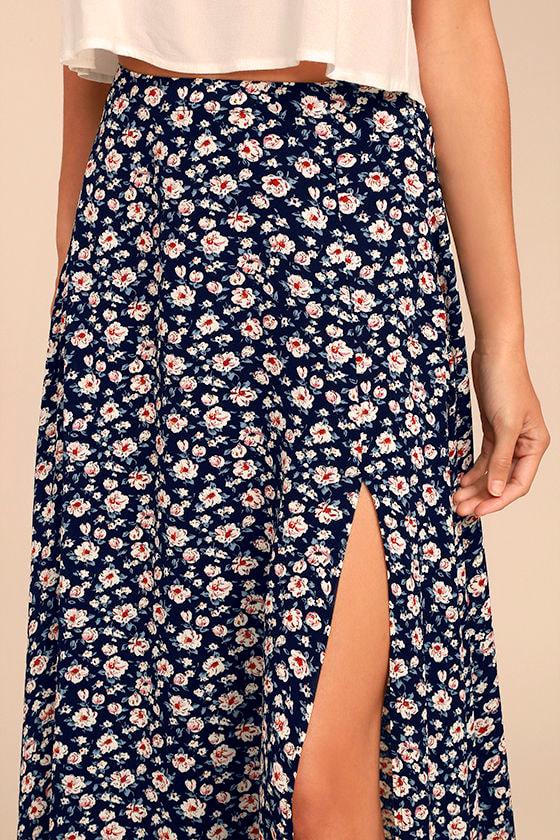 Dearest Friend Navy Blue Floral Print Maxi Skirt 4