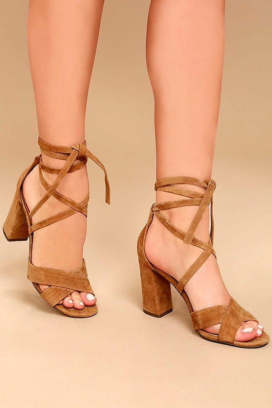 Report Mara Tan Suede Leather Lace-Up Heels 1