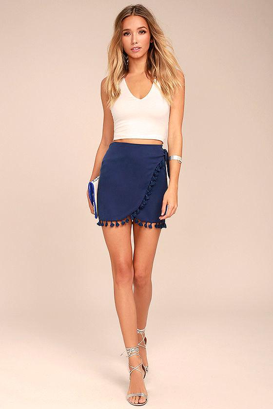 Take it Easy Navy Blue Wrap Mini Skirt 2