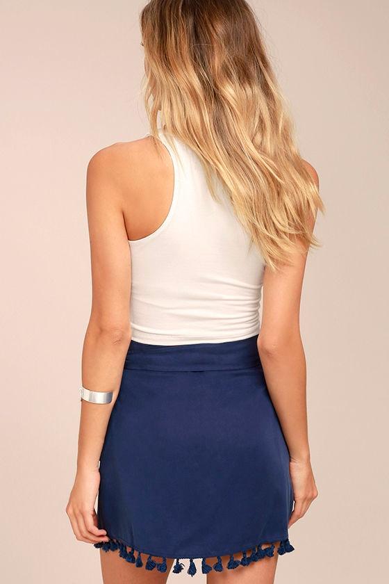 Take it Easy Navy Blue Wrap Mini Skirt 3