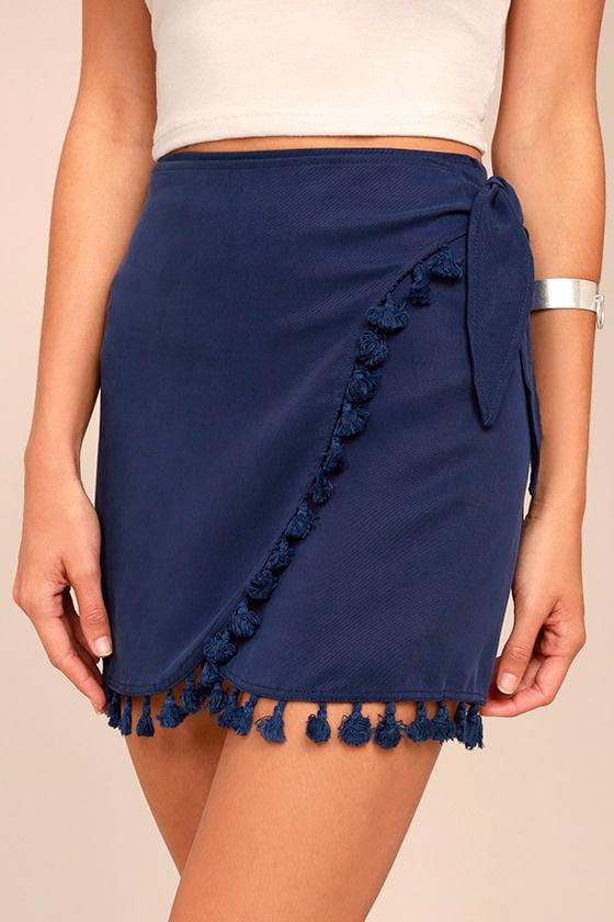 Take it Easy Navy Blue Wrap Mini Skirt 4