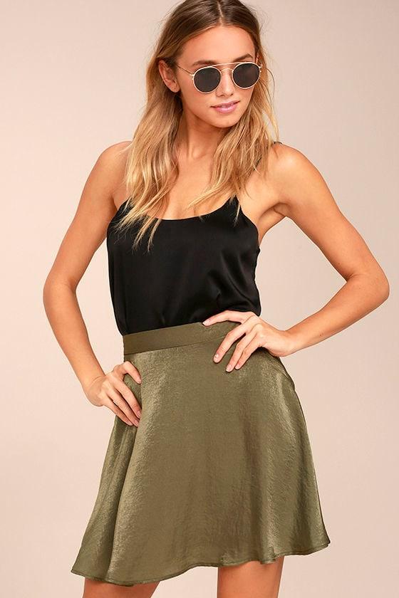 Sensational Olive Green Satin Skater Skirt 1