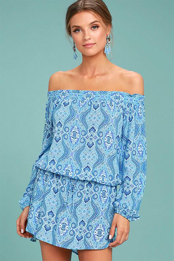 Lucy Love West Indies Light Blue Print Off-the-Shoulder Dress 1