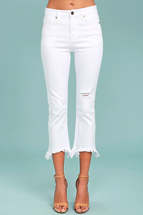 J.O.A. Fete White Distressed Ankle Skinny Jeans 2