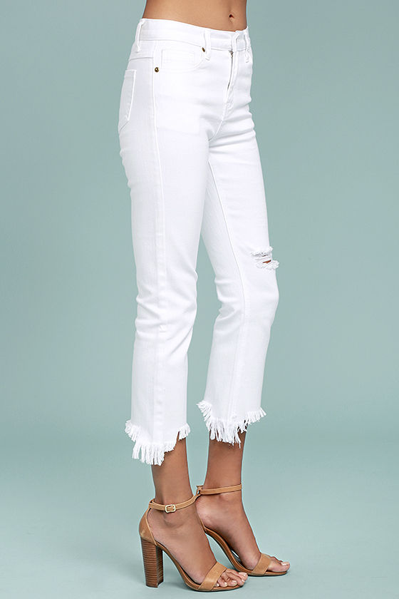 J.O.A. Fete White Distressed Ankle Skinny Jeans 3