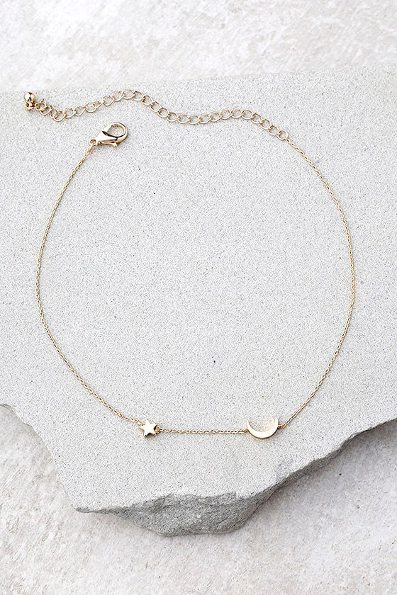 Moonscapes Gold Choker Necklace 1