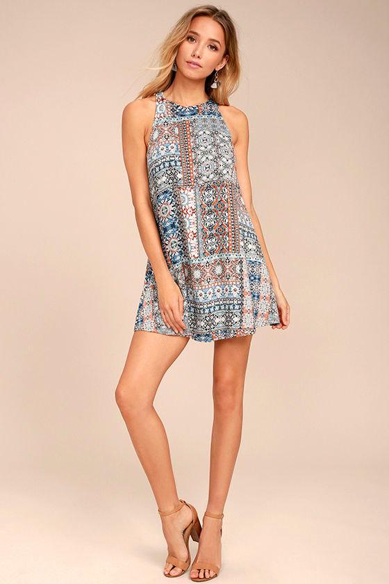 Design Major Grey Print Swing Dress 2