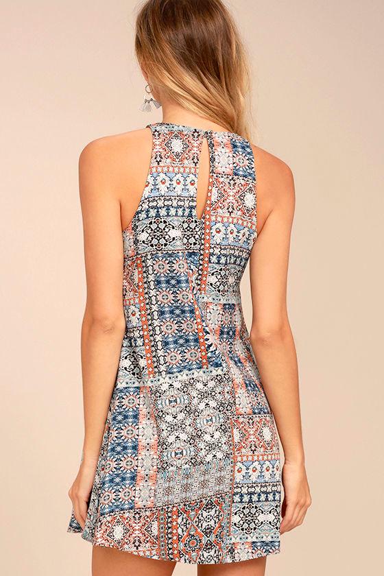 Design Major Grey Print Swing Dress 3