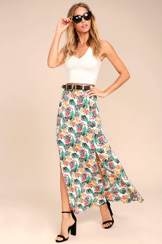 Lucy Love Aloha Gangster White Floral Print Maxi Skirt 1