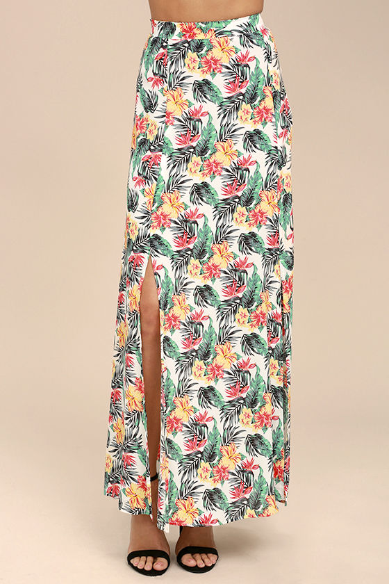 Lucy Love Aloha Gangster White Floral Print Maxi Skirt 2