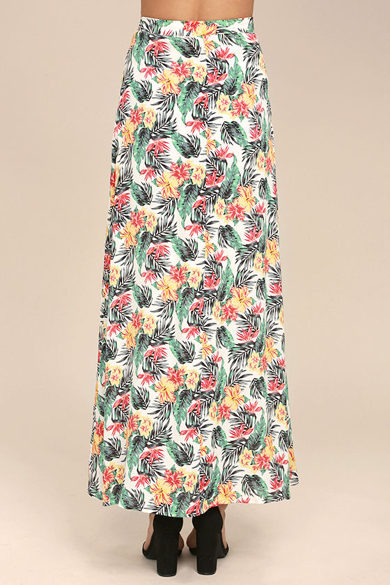 Lucy Love Aloha Gangster White Floral Print Maxi Skirt 3