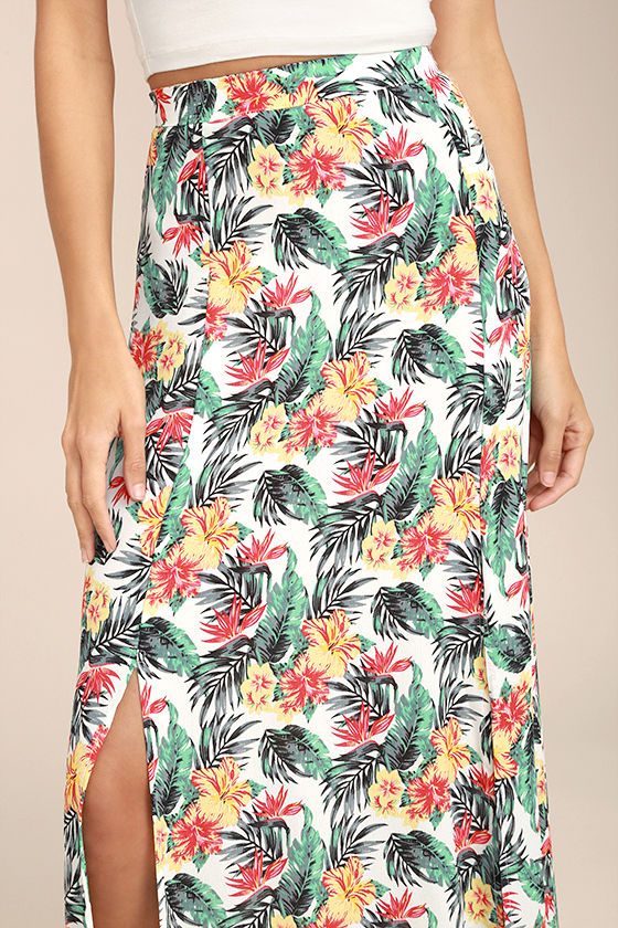 Lucy Love Aloha Gangster White Floral Print Maxi Skirt 4