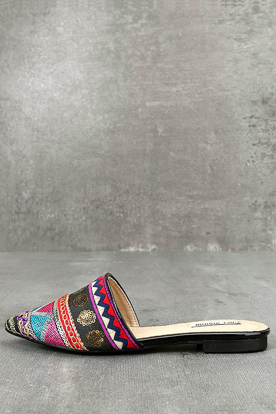 Andrea Black Embroidered Mules 1
