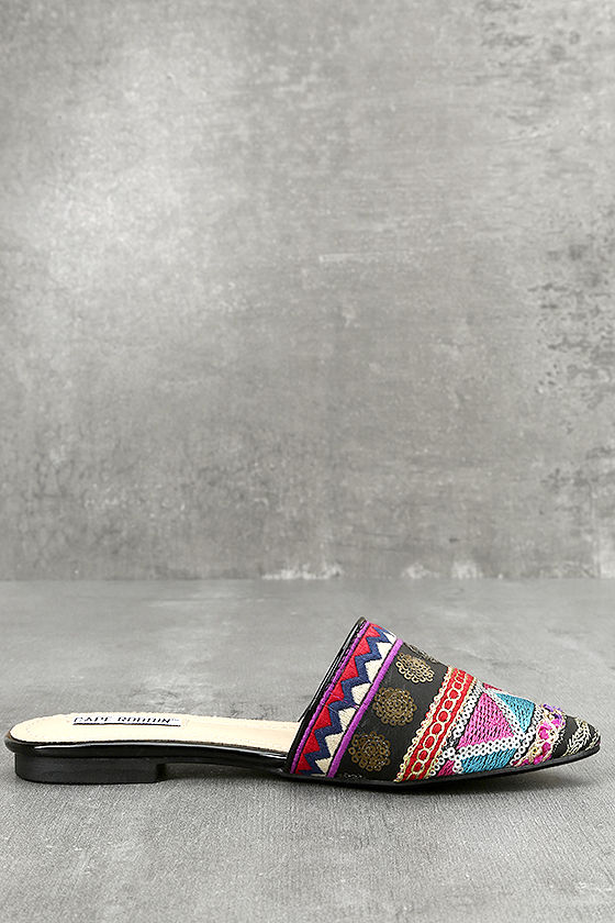 Andrea Black Embroidered Mules 3