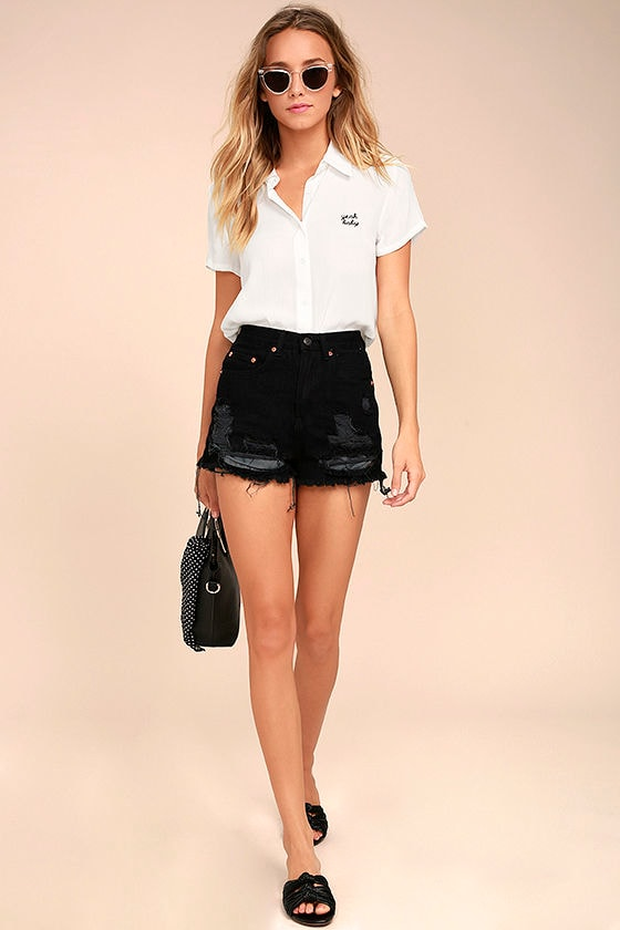 Yeah Baby White Embroidered Button-Up Top 2