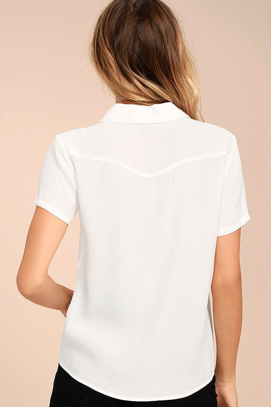 Yeah Baby White Embroidered Button-Up Top 3