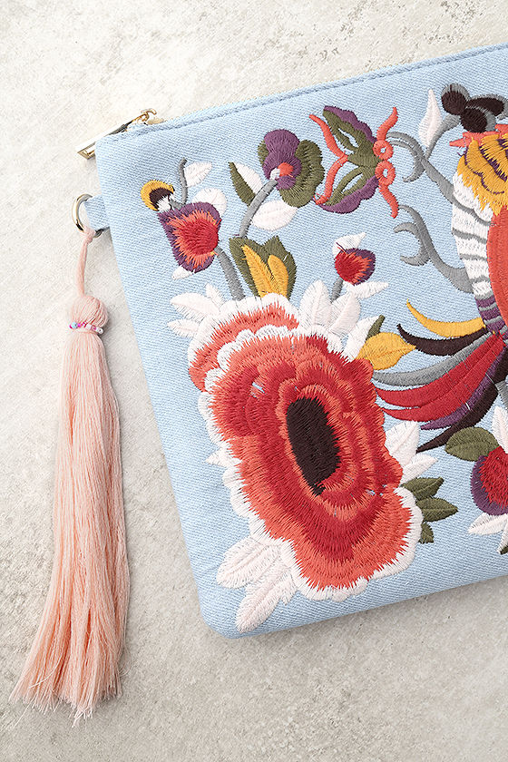 Fly Away Light Blue Embroidered Clutch 2
