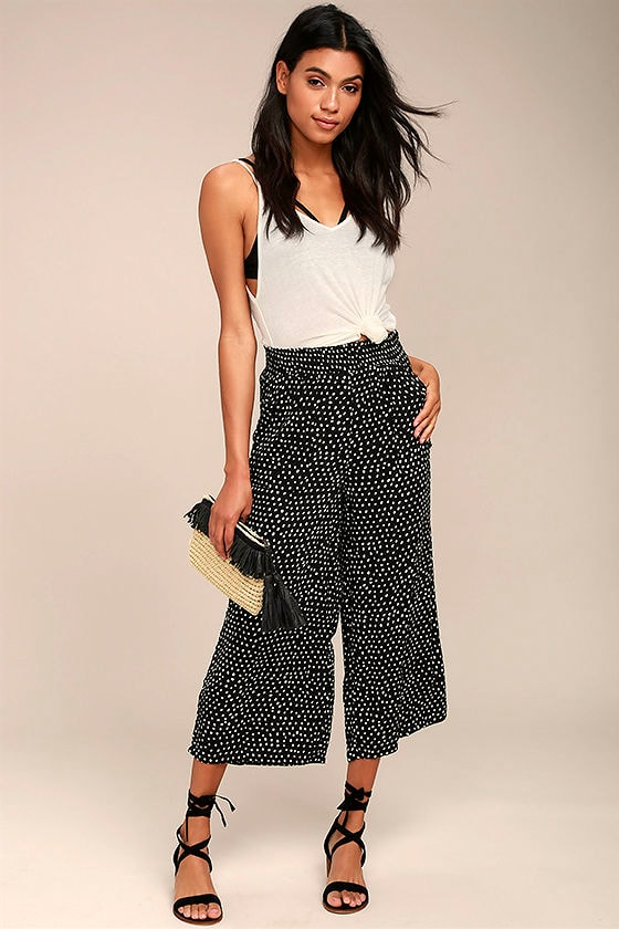 Billabong Sunny Dazer Black and White Polka Dot Culottes 1