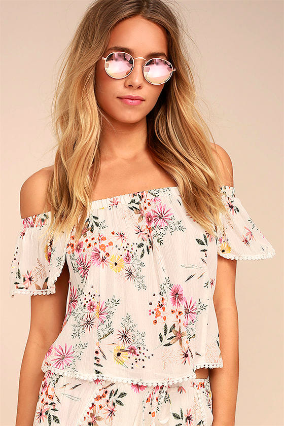 Glad Tidings White Floral Print Off-the-Shoulder Crop Top 1