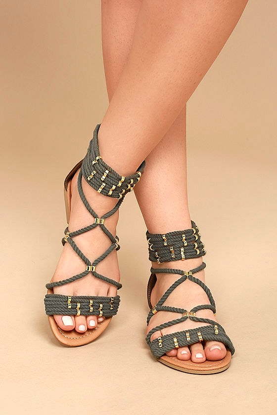 Pria Khaki Gladiator Sandals 1